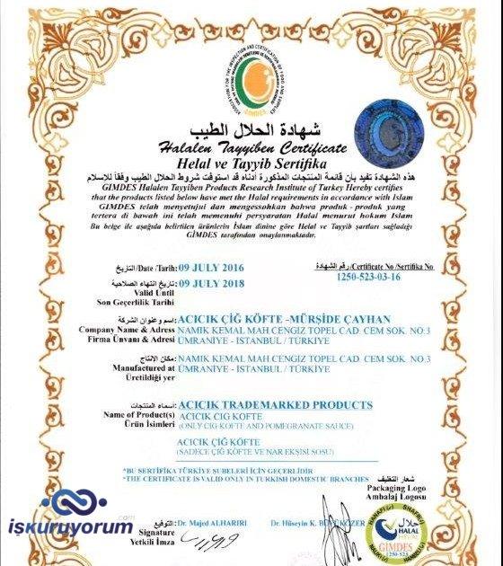 gimdes sertifikalı helal çiğköfte